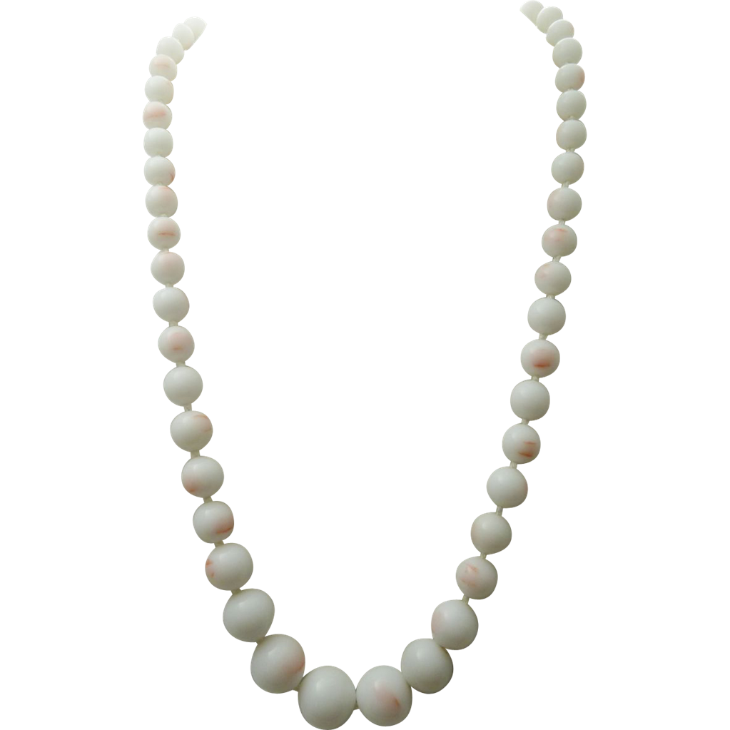 japan glass skin coral bead necklace 1940 s from