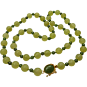Celadon and Spinach Green Vintage Jade Bead Necklace