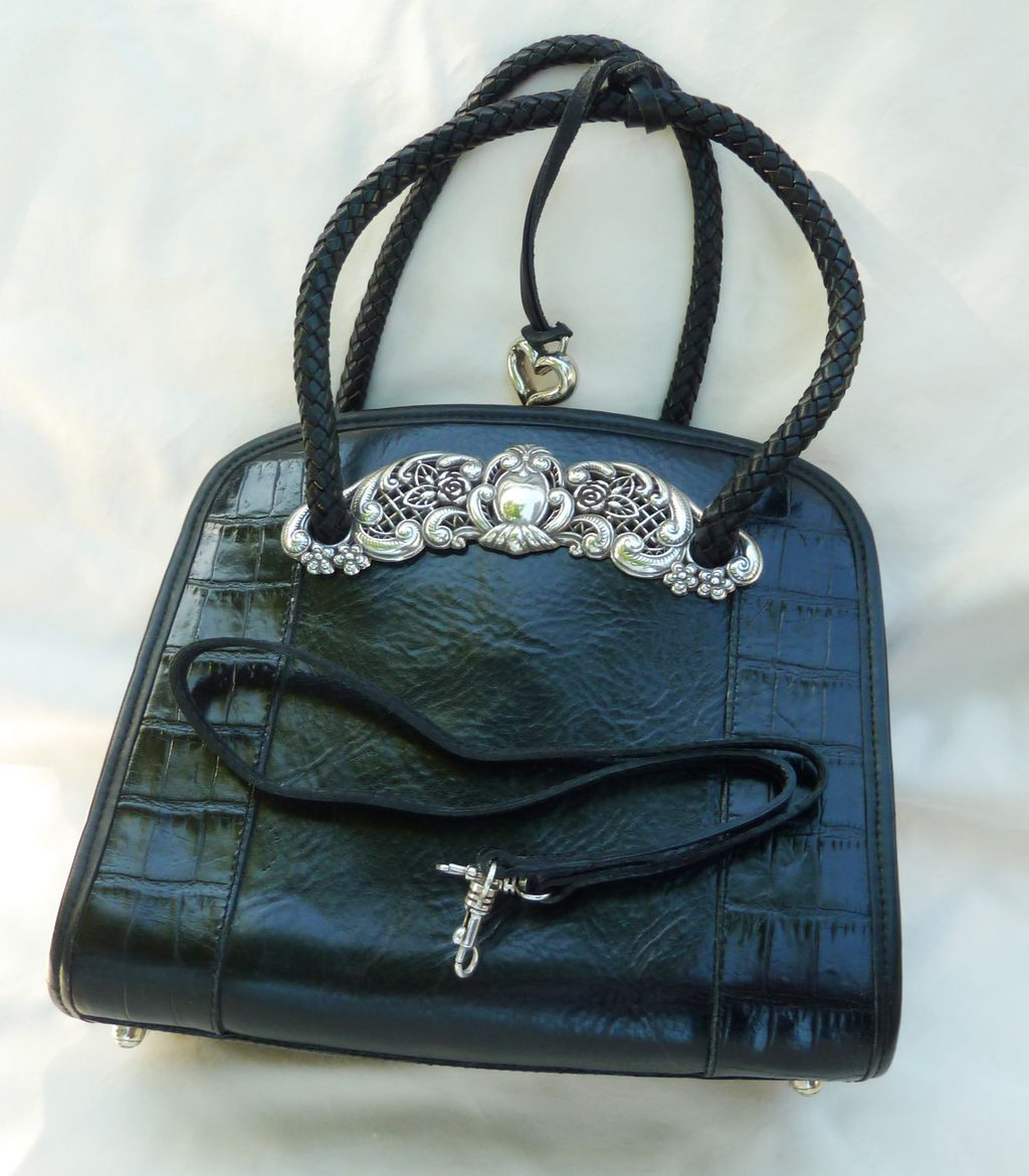 BRIGHTON 'Chantilly Lace' Black Leather Handbag with Dust ...