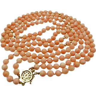 Angel Skin Coral Double Strand Bead Necklace 14K Clasp