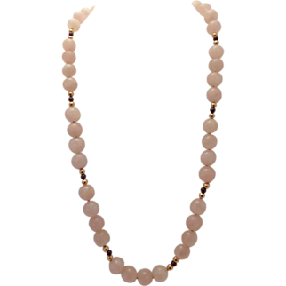 Rose quartz:garnet:pink:sterling clasp:beaded:gold filled