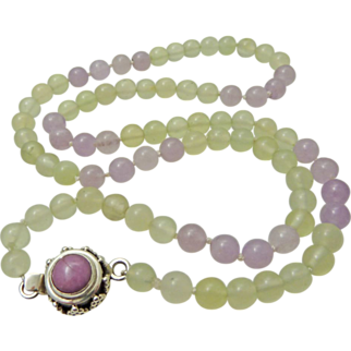 Vintage Icy Celadon and Lavender Jade Necklace - Sterling Clasp