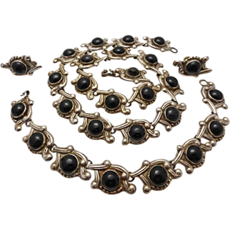 Early 1930's Taxco Obsidian Sterling Necklace, Bracelet, Earrings SET