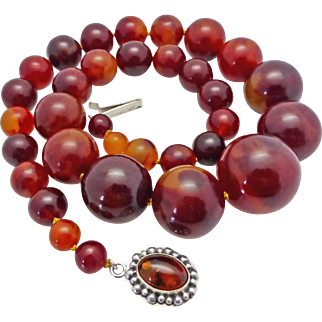 Vintage Bakelite Huge Bead Necklace Sterling Clasp