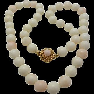 Mediterranean 10mm Angel Skin Coral Necklace 14K & Coral Clasp