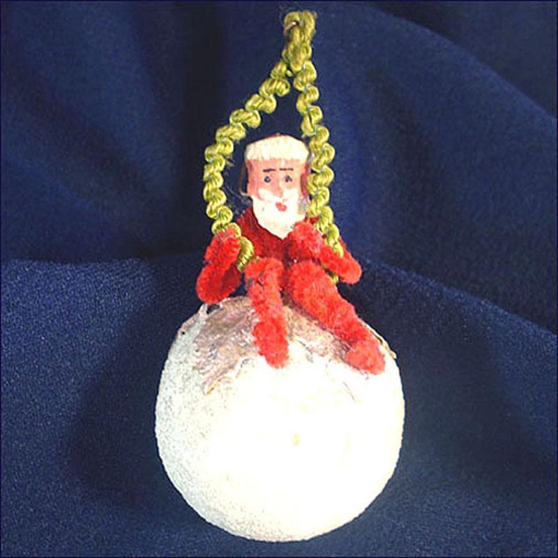 Antique Clay Face Chenille Santa on Cotton Compo Ball Christmas Ornament