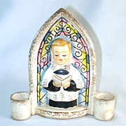 Christmas Choir Boy Ceramic Wall Pocket Candle Holder