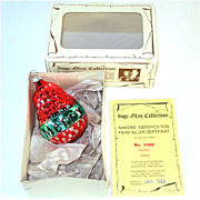 Red Green Merry Pear Inge Glas Christmas Ornament Mint in Box