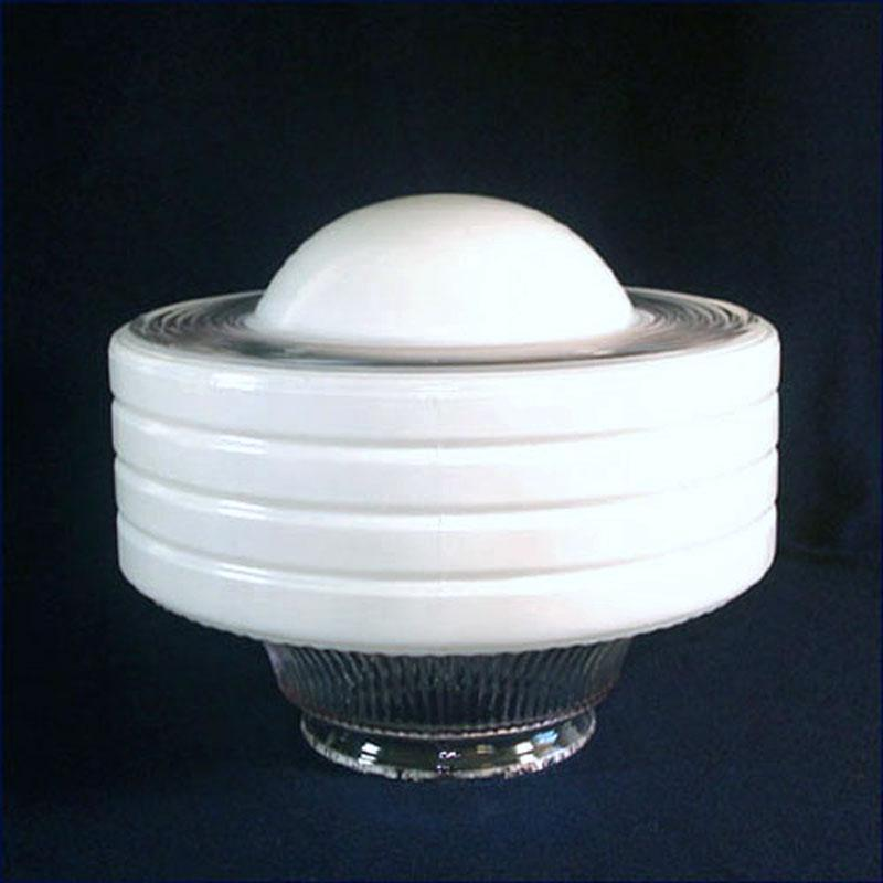Art Deco White Clear Ringed Glass Ceiling Light Shade Convex Center