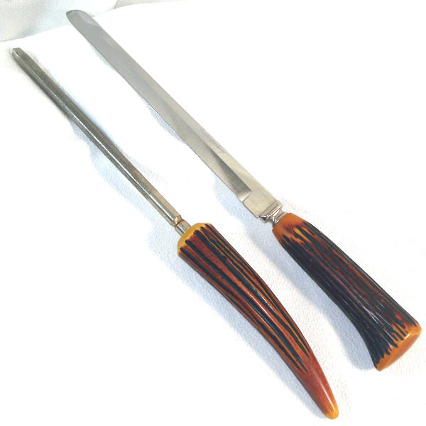 Bakelite Knife And Sharpening Steel Faux Antler Stag Horn