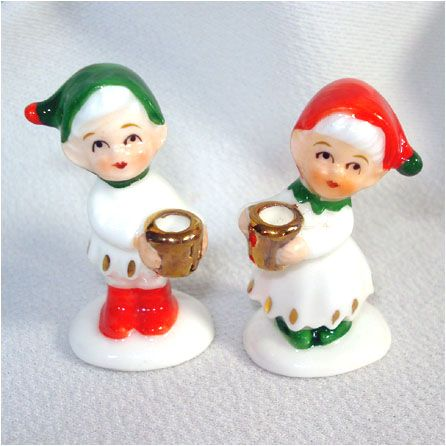 Napco Mini Bone China Christmas Elf Candle Holders