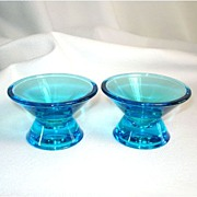 Iittala Finland Art Glass Blue Candlesticks