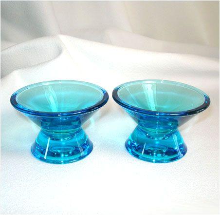 Iittala Finland Art Glass Blue Candlesticks