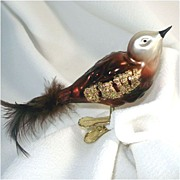 Glittered Red-Brown Glass Clip Bird Christmas Ornament Feather Tail