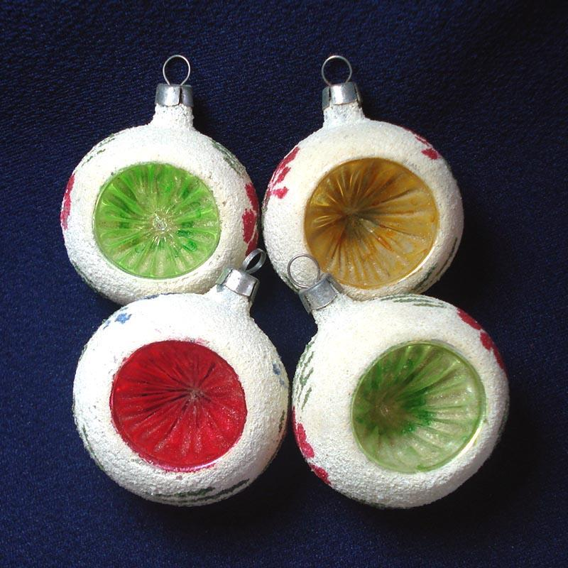 Poland Mica Snowball Indent Glass Christmas Ornaments