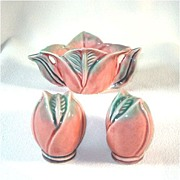 Pink Rosebud Pottery Salt Pepper Shakers and Sugar Bowl