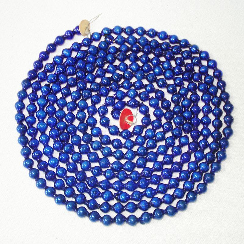 Cobalt Blue Mercury Glass Bead Christmas Garland 7.5 Feet