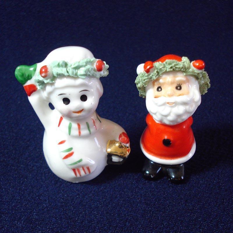 Napco Mini Bone China Santa Snowman Christmas Figures