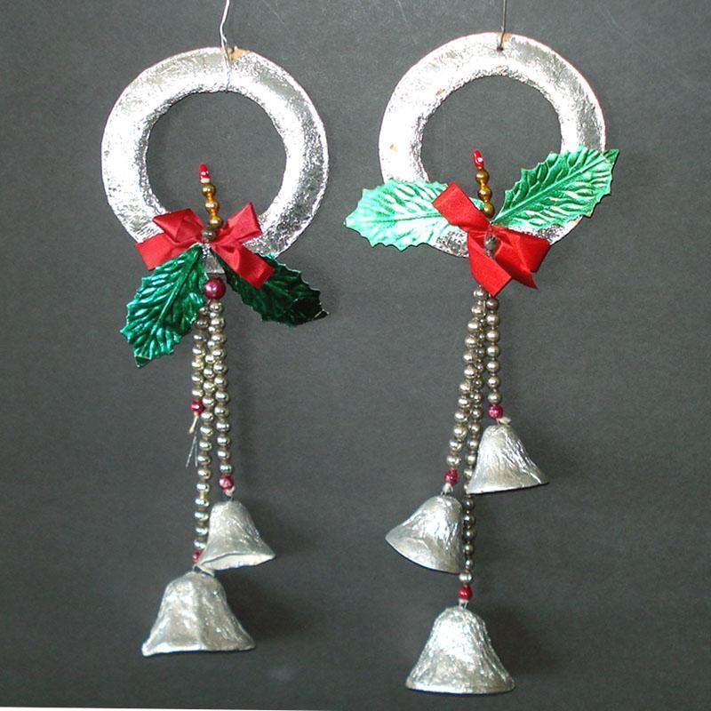 1950s Foil Glass Bead Bells Christmas Wreath Ornaments