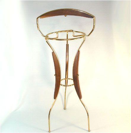 Retro 1960s Brass and Wood Smoking Stand