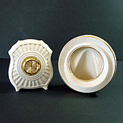 Lenox Porcelain Fluted Clock and Round Picture Frame