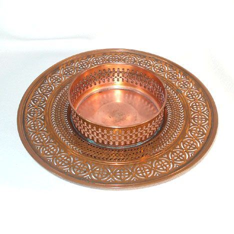 Manning Bowman Antique Pierced Copper Centerpiece Tray