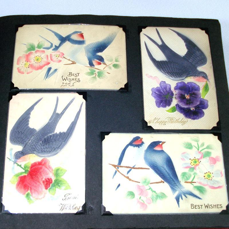 Antique German Embossed Postcard Collection in Album 115 Pieces