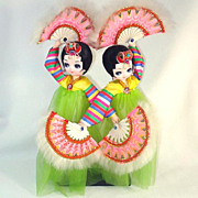 Bradley Twin Big Eyed Korean Fan Dancer Boudoir Dolls