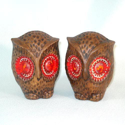 Treasure Craft Big Eyed Owl Salt and Pepper Shakers