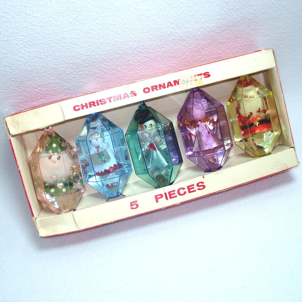 box jewel brite 1960s large plastic scene christmas ornaments sold ruby lane - Large Plastic Christmas Decorations