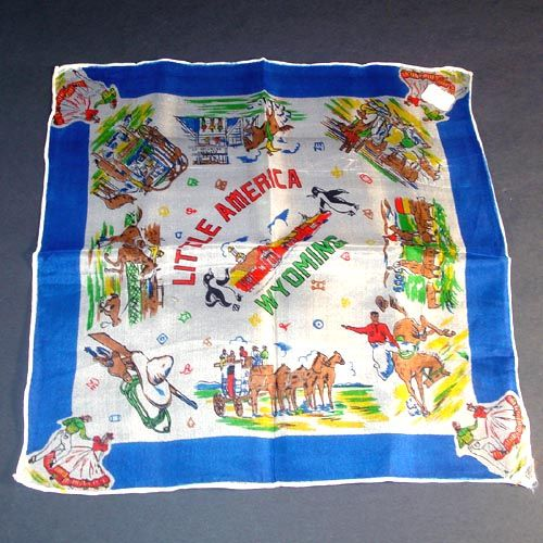 Souvenir Little America Wyoming Silk Hankie Western Cowboys