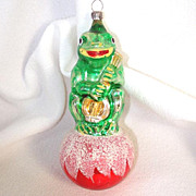 Frog With Banjo on Ball Glass Christmas Ornament