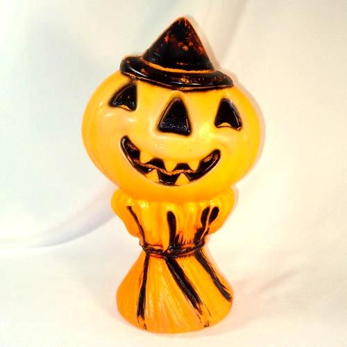 Jack O Lantern on Haystack Halloween Blow Mold Decoration