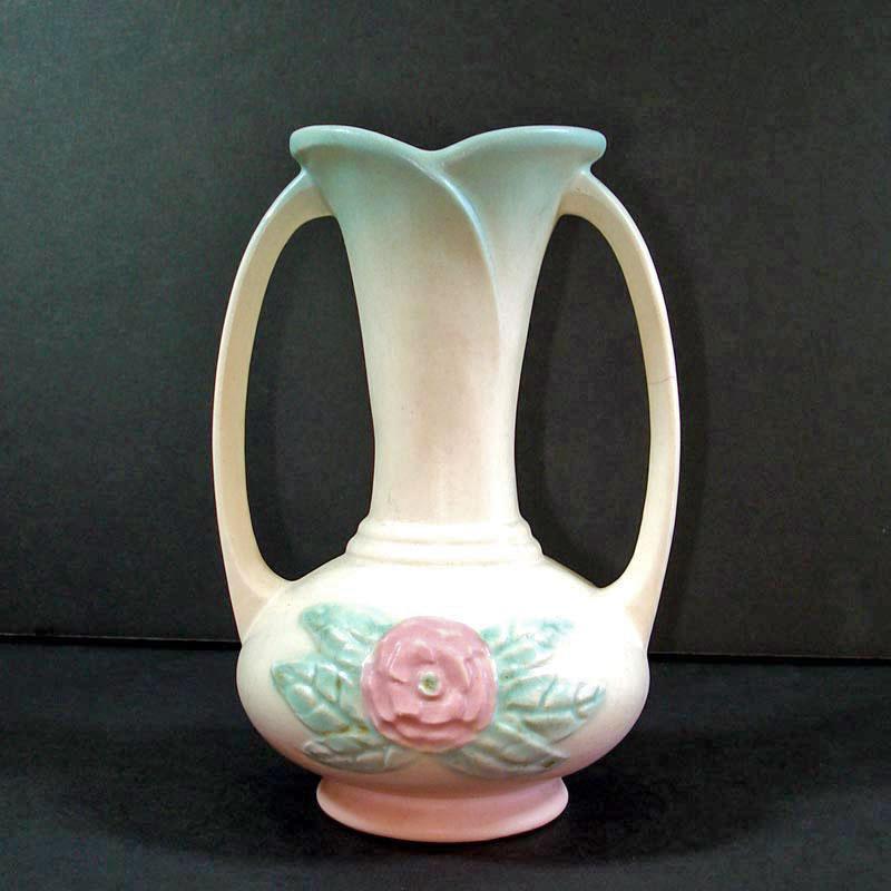 Hull Art Pottery Camellia Open Rose Vase 1940s