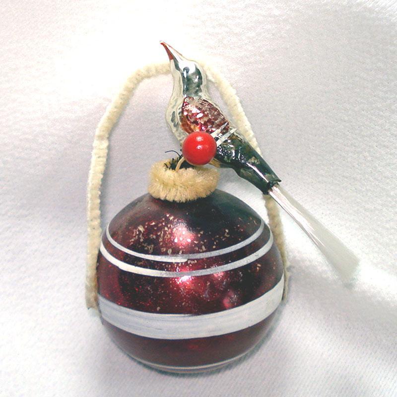 2 Corning USA 1930s Beaded Paneled Glass Christmas Ornaments