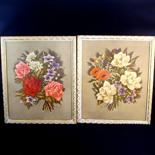 Pair 1940s Large Framed Averill Floral Prints