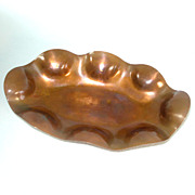 Biomorphic Scalloped Copper Bubble Rim Dish With Ball Feet