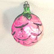 Poland Pink Rosebud Glass Christmas Ornament
