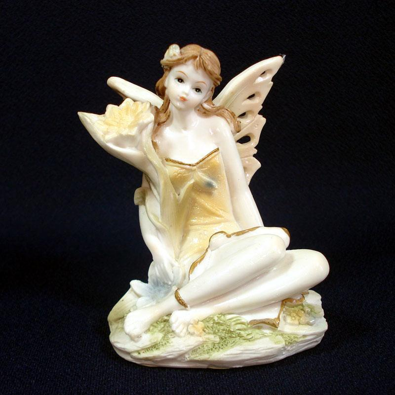 Polystone Flower Fairy Figurine Yellow Dress