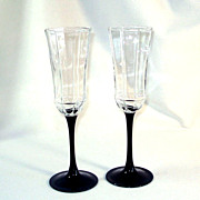 Octime Luminarc France Black Stemmed Champagne Flutes Pair