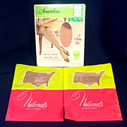 3 Pair 1960s Nylon Stockings Size 10.5 Mint