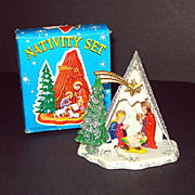 1960s Hard Plastic Christmas White Nativity Scene Mint in Box