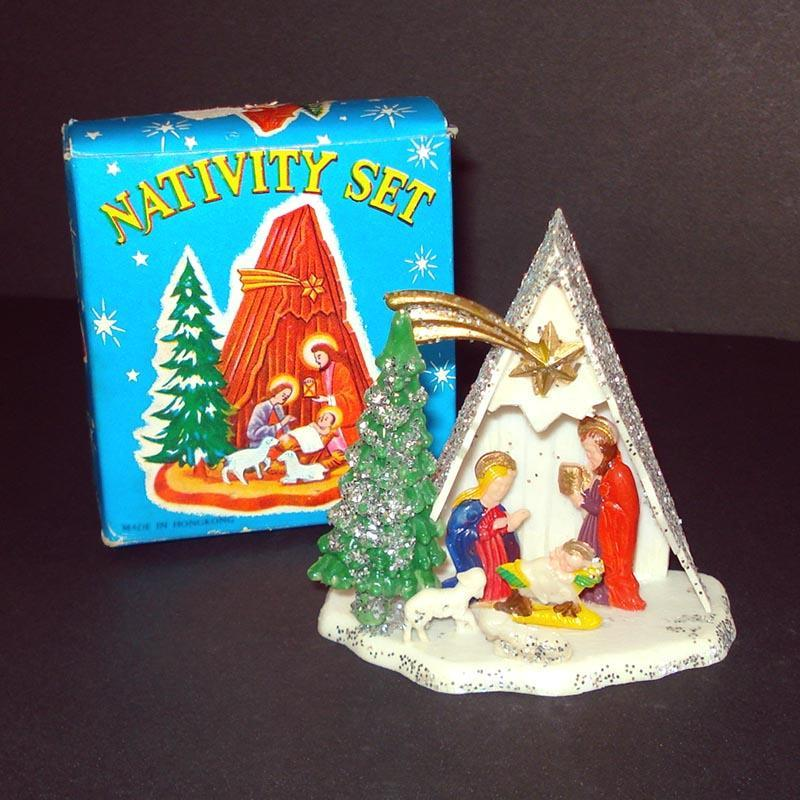 1960s Hard Plastic Christmas Nativity Scene Mint in Box