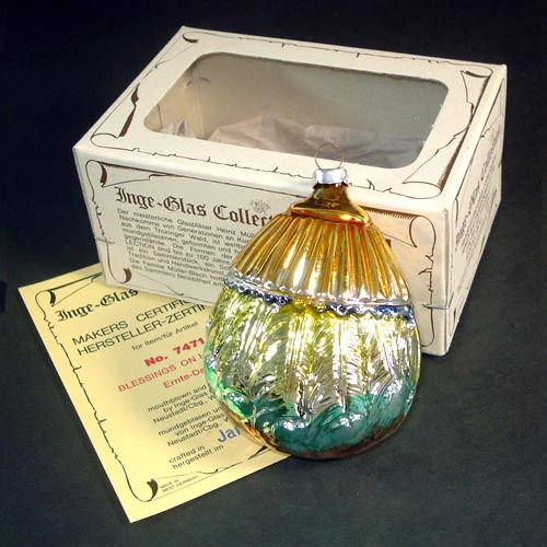 Inge Harvest Blessings 1983 Glass Christmas Ornament Mint in Box