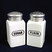 McKee Opal Milk Glass Sugar and Flour Shakers