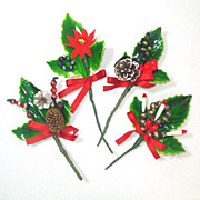 Lacquered Holly 1950s Christmas Package Trims or Corsage Picks