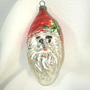 Oval Teardrop Santa Claus Face Glass Christmas Ornament