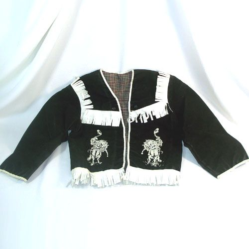 1950s Child's Fringed Black Suede Yellowstone Cowboy Jacket