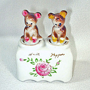 Bear Cub Nodder Salt Pepper Shaker Set Yellowstone Souvenir