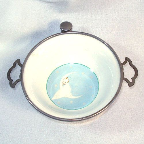 Baby in Moon Antique Child's Feeding Bowl Dish
